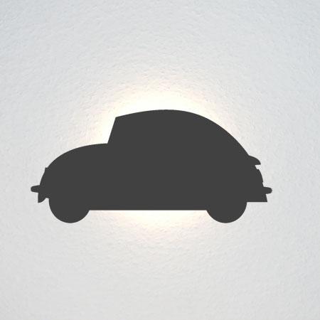 Umriss eines Autos: VW Käfer, aus den 60er Jahren