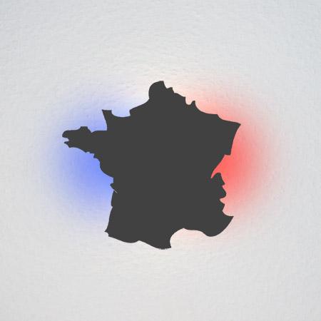 Der geografische Umriss von Frankreich.