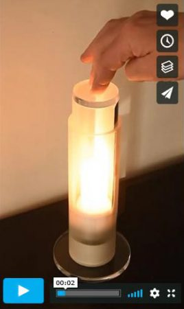 Benutzer drückt auf den Tastschalter: Das Bild verlinked zu einer Animation auf Vimeo.
